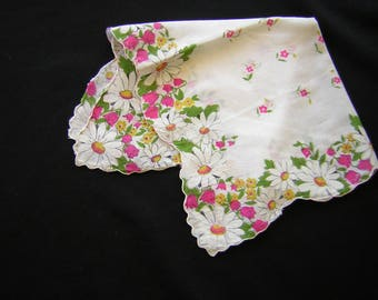 Vintage hanky, hankie, handkerchief fuschia daisies, pink white bridal bouquet accessory doll making