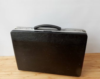 Vintage Black Briefcase Attache Case With Key lovely to use for storage Retro, Old Briefcase vintage luggage, organiser case, black case.