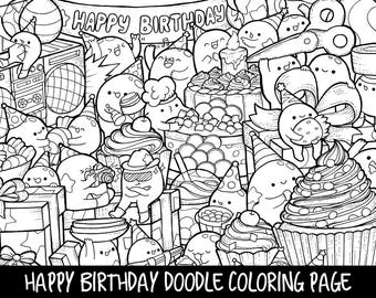 Happy Birthday Doodle Coloring Page Printable