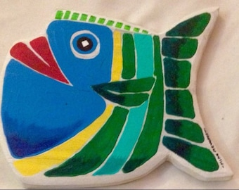Art made from repurposed wood, decorative fish, can be customed ordered for specific color combinations