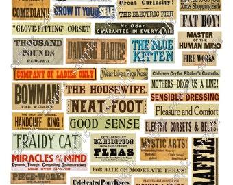 Vintage Phrases Digital Collage Words Advertising Labels Printable Instant Download Cards Decoupage Ephemera Embellishments  Grunge