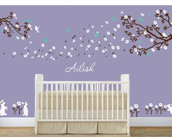Nursery wall decal baby with name wall decals flowers cherry blossom wall sticker wedding office