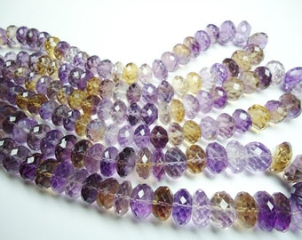 Ametrin Faceted Machine Cut Roundel Beads Size   12 To 14 mm String Lenth Is 15'' inch Total 1 Strings .