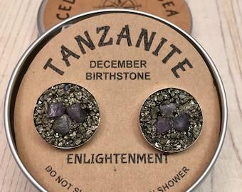 Tanzanite December Cufflink, Febuary Birthstone , Raw Stone, birthstone  gift for boyfriend, gift for man, boss gift anniversery gift