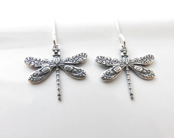 Small Dragonfly Earrings - Sterling Silver Dragonfly Earrings, Dragonfly Jewelry, Sterling Silver Earrings Hypoallergenic, Insect Jewelry