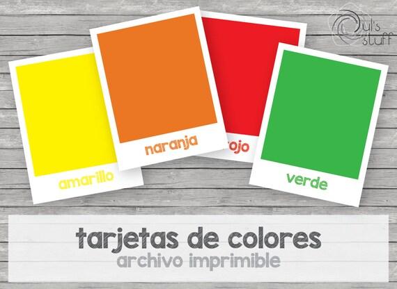 Tarjetas de colores imprimibles para niños en español