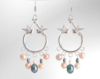 Birds pink and grey, Freshwater Pearl chandelier earrings