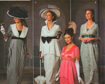 Simplicity 9699 Misses 1900s Costume Pattern My Fair Lady Eliza Doolittle Dress Hat Womens Sewing Size 6 8 10 12 UNCUT