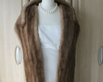 Vintage Real Pastel Brown Mink Fur Shrug Stole, Exeptional Condition Wedding / Opera / Occasion S14