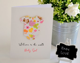 New Baby Girl Card Handmade by The Paper Angel, Welcome to the World Congratulations Baby Card, Newborn Card, New Baby Girl Gift