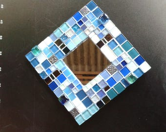 mother of Pearl and modern glass mosaic mirror