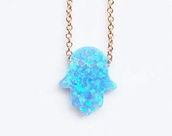 Opal Hamsa Necklace on a Sweet Rose Gold Chain • Waterproof • Small or Large Size in Sky Blue Opal • Cute Opal Necklace Gift to Give or Keep