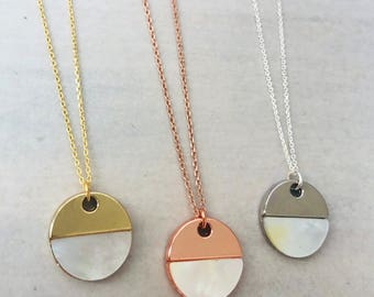 Half Shell Disc Necklace