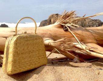 Bag Vintage antique bag rattan wicker Straw