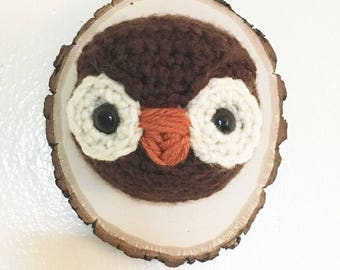 Little Hooter Crochet Taxidermy Owl Head