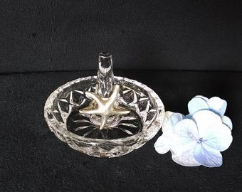 Vintage Cut Crystal Ring Holder, Diamond Design Clear Glass Ring Holder, Small Glass Ring Dish