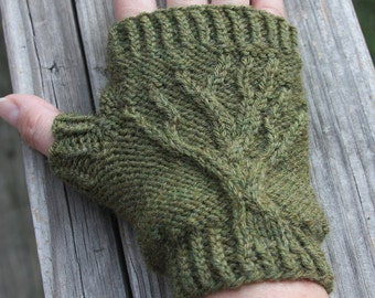 Tree of Life Fingerless Gloves Knit PATTERN PDF