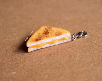 Grilled Cheese Charm - Miniature Food Jewelry, Polymer Clay Food. Fake Food Jewelry. Grilled Cheese Sandwich.