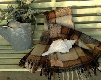 "Nut Brown Plaid Wool Blanket By ""Comfydown"" - Vintage Brown Plaid Lap Robe, Stadium Blanket, Warm Wool Throw, Blanket For Couch + Decor"