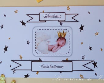 Invitation card participation with stars and starlets for baptism birth Birthday communion Confirmation