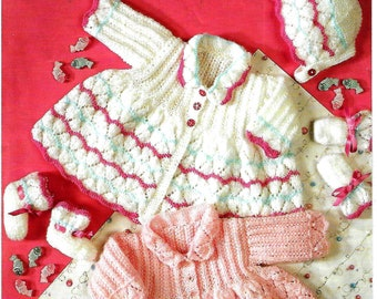 KING COLE 7188 Baby Set Knitting Pattern PDF Instant Download