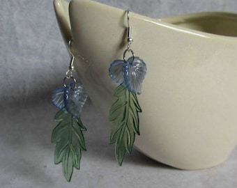 Feather Lite Leaf Earrings Light Blue and Green