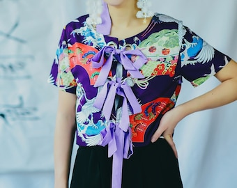 Lost in Kyoto Collection Japanese blue floral crane flying shirt 1P8KN