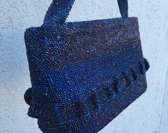 Vintage 50s 60s Midnight Blue Black Iridescent Beaded Purse