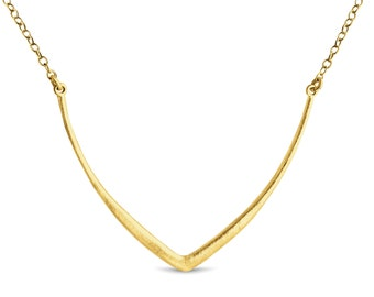 Textured Curved V Sideways Charm Pendant Necklace #14K Gold Plated over 925 Sterling Silver #Azaggi N0787G