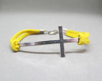 Silver Sideways Cross Yellow Suede Bracelet size 6.5 inches