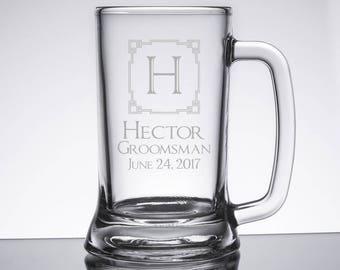 Beer Mug Glasses, Wedding Glasses - Groom and Best Man/Groomsmen, Personalized Beer Mug, Engraved Beer Glass, Groomsmen Gift