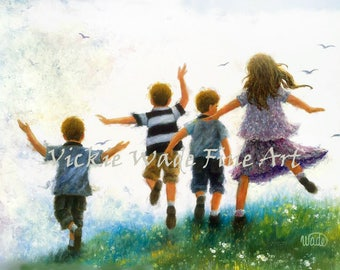 Children Leaping Art Print three brothers and sister, children playing, three boys and girl, kids wall decor art, Vickie Wade art