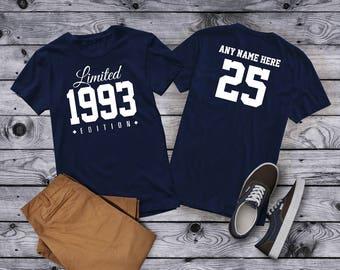 1993 Limited Edition 25th Birthday Party Shirt, 25 years old shirt, limited edition 25 year old, 25th birthday party tee shirt Custom