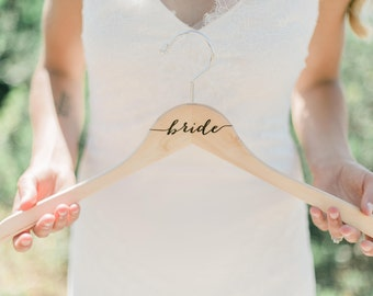 Personalized Bridal Hanger - Engraved Wood