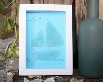 Sea Glass Art - Sea Glass - Sailboat - Beach House - Beach - Beach Decor - Seaglass -