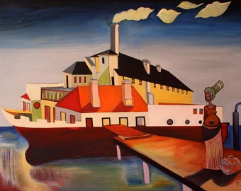 Original oil painting on canvas. Titled :  Departure