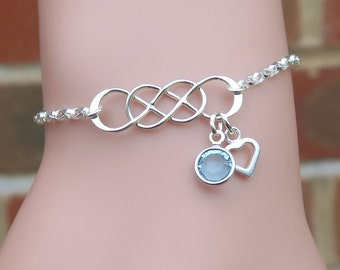 Personalized Double Infinity Bracelet, Silver Infinity, Infinite Bracelet, Friendship Bracelet, Infinity Birthstone Jewelry, Gift For Her
