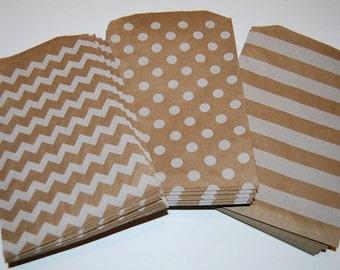 Party Favor Bags - Kraft Paper Treat Bags - Bakery Bags 7x5 medium size - You choose color - 20 count