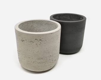 "Fiberstone Cylinder Plant Pots 5"" Charcoal & Grey"