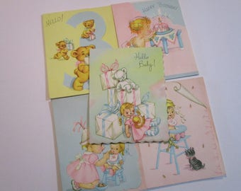 Vintage Greeting Card Lot-Ephemera-Mixed Media-Paper-Crafts-Scrap Booking-Baby-Childrens-Cooper-Set of 5-Baby-UNUSED
