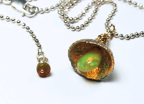 Pixie Lamp- Sterling Silver, Gold and Opal Acorn Cap Necklace-Ready to ship.