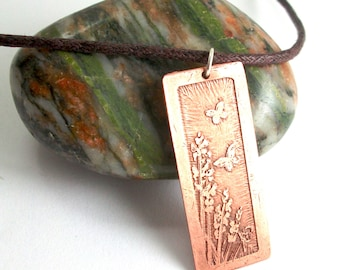 Butterfly necklace, etched copper pendant, antique style, elegant jewellery