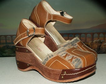 Vintage platform shoes/Comfort leather clog shoes US 7/EU 38