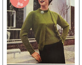 1950's Lady's Classic Twin Set Knitting Pattern - PDF Instant Download