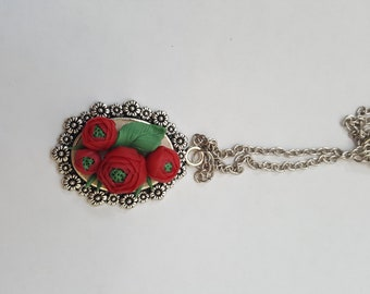 Necklace RED RANUNCULUS