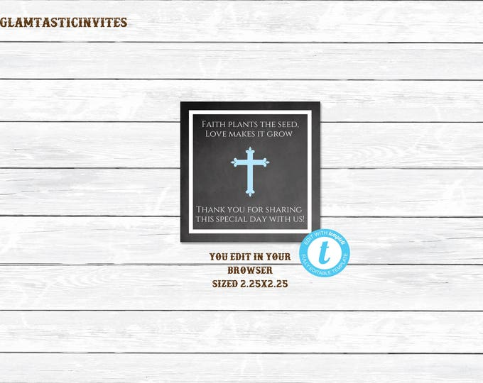 Baptism Favor Tags Template, Blue Baptism Favor Tag, Communion Favor Tags, Boy Baptism, Flower Favor, Baptism, First Communion, Favor Tags