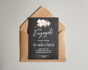 Floral + Leaves Black and White Engagement Chalkboard OR Wedding Invitation