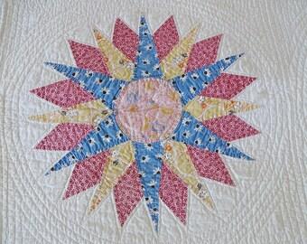 Antique Sunburst Quilt Pieced and Applique