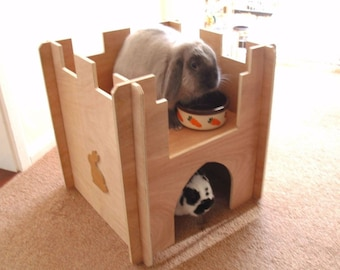 Wooden Rabbit Castle, Playground, Tunnel, Shelter