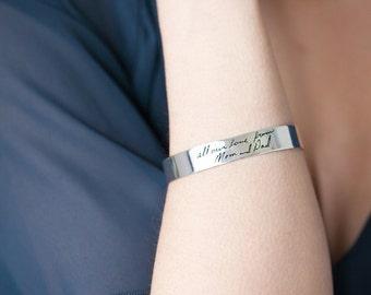 Personalized Signature Cuff Bracelet -Handwriting Jewelry-  Personalized Bracelet Jewelry -  Message Cuff Bracelet - Christmas Gift